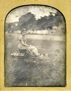 ca. 1850s, [out-door daguerreotype portrait of morose girl in a dog-pulled cart] via Be-Hold, from Invaluable Auctions