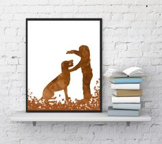 Dog print Girl is playing with her dog Dog by InstantDownloadArt1