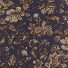Eliza�s Indigo - brown/tan/grey blue floral on navy blue 31505 11