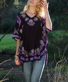 Another great find on #zulily! Purple Floral Tunic - Women by Ananda's Collection #zulilyfinds