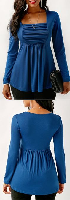 Shop Womens Fashion Tops, Blouses, T Shirts, Knitwear Online Cool Outfits, Fashion Outfits, Womens Fashion, Modelos Plus Size, Trendy Tops For Women, Sewing Clothes, Ideias Fashion, Clothes For Women, Blue Blouse