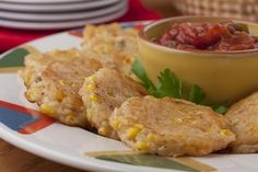 Our recipe for Easy Corn Fritters is a take on a traditional American classic. We made it easy as possible & isn& that what we need these days? Corn Recipes, Side Dish Recipes, Vegetable Recipes, Easy Corn Fritters, Cooking Recipes, Healthy Recipes, Kitchen Recipes, Delicious Recipes, Crockpot Recipes