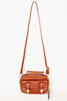 This is a men's gold adjustable detachable interior leather buckle handle pocket lined vegan strap camel fully made look satchel from Nasty Gal, luggage consisting of a small case with a flat bottom and (usually) a shoulder strap.