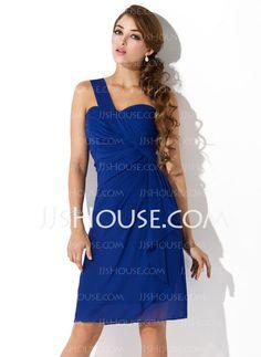 Homecoming Dresses - $112.99 - Sheath One-Shoulder Knee-Length Chiffon Homecoming Dress With Ruffle (022010850) http://jjshouse.com/Sheath-One-Shoulder-Knee-Length-Chiffon-Homecoming-Dress-With-Ruffle-022010850-g10850