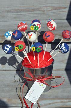 Olympic Cake Pops! cake popscakescupcak, olymp cake, themed cakes, theme cake