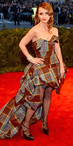Christina Ricci in punk plaid by Vivienne Westwood Couture and Casadei heels at the 2013 Met Gala.