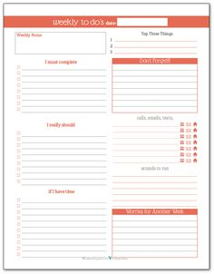 Summer Orange - Weekly To-Do list planner printable