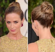 Emily Blunt at the 2013 Golden Globes in a bun updo hairstyle