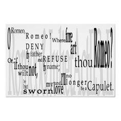 'O Romeo, Romeo!' Shakespeare Quote Poster Print