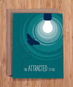 valentine card / funny greeting / attracted by ModernPrintedMatter