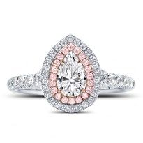 R3069 - Rose and White Double Halo Engagement Setting