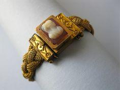 Victorian Gold GF Mesh Braid Carved Cameo Bracelet