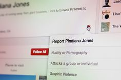 IMPORTANT:  How to block and report followers on Pinterest.  I've blocked and reported the porno guy from our list. - EC  (ps - if you're into porn, don't bother following us.  we won't be following you.)