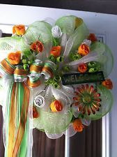 DECO MESH WREATH, WHITE, ORANGE AND LIME GREEN WITH ROSES,WELCOME, FREE SHIP