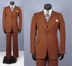 Vintage Suit  1970's Men's Cinnamon Brown Single by jauntyrooster