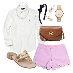 """""""Classic Prep"""" by pearlsplease ❤ liked on Polyvore featuring Polo Ralph Lauren, Lilly Pulitzer, Kiel James Patrick, J.Crew, Jack Rogers, Kate Spade, Tory Burch, women's clothing, women and female"""
