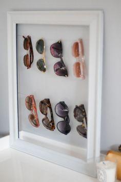 diy sunglasses display/storage {via Emily of Cupcakes & Cashmere} Sunglasses Organizer, Sunglasses Storage, Sunglasses Holder, Sunglasses Sale, Baseball Sunglasses, Wayfarer Sunglasses, Sunglasses Online, Shoe Organizer, Closet Organization