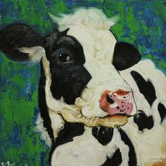 Cow painting 476 20x20 inch original oil painting by Roz by RozArt, $185.00
