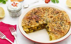 This sweet potato and spinach pie is flaky and fragranced with a delicious spice blend.