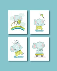 Elephant Nursery Art Print  Baby Elephant 4 by HappyLittleBeans
