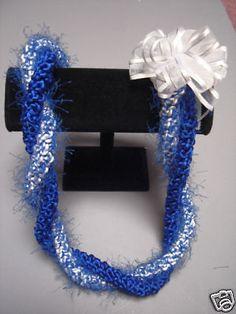 Hawaiian Rattail Eyelash Yarn Crochet Lei Blue White | eBay
