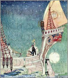 On The Sea. Art Deco Kay Nielsen