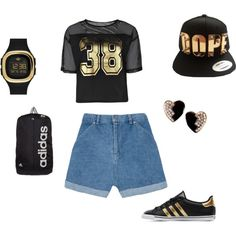 all gold and black. adidas #21 by maneec on Polyvore featuring polyvore fashion style Boohoo The Fifth Label adidas Originals adidas Yves Saint Laurent