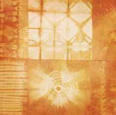 Onion skin natural dye fabric sample using shibori techniques