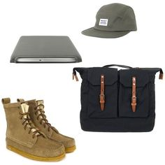 Fancy - Yuketen Khaki Sport Hunt Boots | Ally Capellino Frank Black Bag | Norse Projects Khaki Hektor Nature Cap | Cote Et Ciel Diver Sleeve