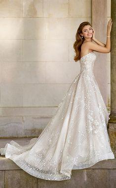 Martin Thornburg Mon Cheri spring 2018 bridal strapless sweetheart beaded bodice a line lace wedding dress (118281 coda) sv elegant romantic -- Spring 2018 Wedding Dresses from Mon Cheri Bridals
