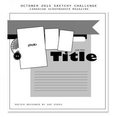 Selfie: pretty girl - Canadian Scrapbooker October Sketchy Challenge (layout 332)