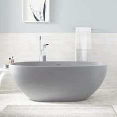 Relaxing Tubs In The Floor Allene Resin Freestanding Tub Ash Gray Matte Finish Bathroom inside ucwords] Simple Bathroom, Master Bathroom, Bathroom Ideas, Bathroom Tubs, Bathroom Goals, Big Bathtub, Wooden Bathtub, Bathtub Shower, Adobe