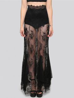 WIDOW Give those legs the spotlight in this maxi skirt. A high waist fit with a mesh and floral lace construction. Stretchy style that forms to your figure and gives way to a flowy bottom. Wear with our Undercover shorts and a tight crop top.