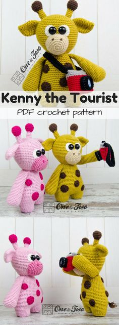 PDF crochet amigurumi pattern for tourist giraffe toy. Love the detail and shape of this adorable giraffe with a camera accessory! #etsy #ad