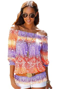 Cheap Color Block Gypsy Off Shoulder Half Sleeve Blouse only US  6.88 8cb62700a