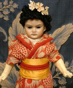 """RARE 10"""" Closed-Mouth Asian Antique Bisque Character Doll ONE OF A KIND FACE! 