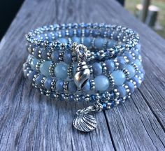 Beachy Blues Multi Coil Memory Wire Bracelet by McHughCreations