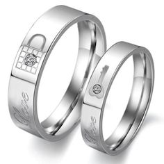 Stainless Steel Couple Rings Wedding Bands Love L ($19.90)
