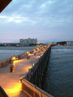 folly beach pier at night. Tides hotel in the background.  I really need to be there now......