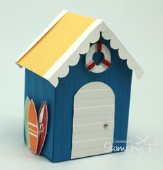 Stampin' Up! Stamping T! - Summer Splash Money Box.  Love this reminds me of the Bathing Boxes at Brighton Beach