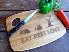 Personalized Cutting Board engraved cutting board Wedding Gift Anniversary Cats on Etsy, $15.95
