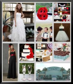 Black, White, and Red wedding themed with polka dots and mustaches