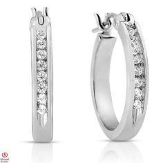 Ebay NissoniJewelry presents - Ladies' 1/7CT Diamond Hoop Earrings 10K White Gold    Model Number:E4959C_Y0CZ    http://www.ebay.com/itm/Ladies-1-7CT-Diamond-Hoop-Earrings-10K-White-Gold/221630377970