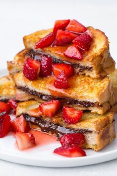 Nutella Stuffed French Toast with Macerated Strawberries recipe
