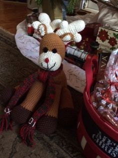 Crocheted Reindeer.  Have to be honest here I made this for my grandson, but fell totally in love with it, so I think I have to make one for me :o)