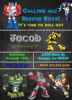 Rescue Bots Birthday Invite DIGITAL FILE by SavannahMarieDesign