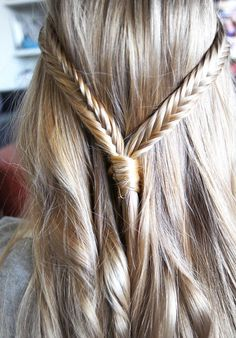 double fishtail braids- I don't like how fishtail braids look on me and in general, I think they make most people's hair looks wispy and dead.but I do like this look :) # double fishtail Braids Popular Hairstyles, Pretty Hairstyles, Braided Hairstyles, Wedding Hairstyles, Updo Hairstyle, Braided Updo, Hairstyle Ideas, Wedding Updo, Quinceanera Hairstyles