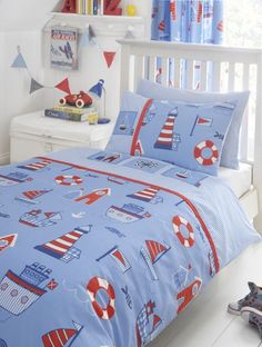 "Blue & Red Boys Nautical Bedding or Pencil Pleat Curtains 66"" x 72"" 
