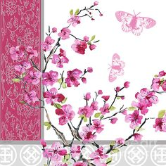 papier do decoupage Butterfly Pictures, Flower Images, Flower Art, Background Clipart, Paper Background, Chinese Cherry Blossom, Cherry Blossoms, Decoupage Paper, Diy Arts And Crafts