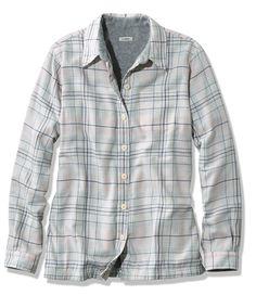 LL Bean Women's Fleece-Lined Flannel Shirt, Sea Salt Heather Gray, XS